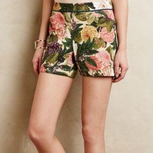 Anthro Elevenses Floral Shorts Sz 12